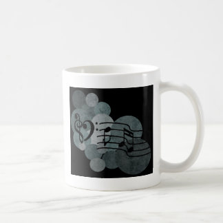 Heart clefs, music notes + silver grey polka dots classic white coffee mug