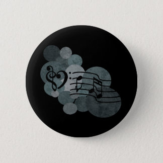 Heart clefs, music notes + silver grey polka dots pinback button