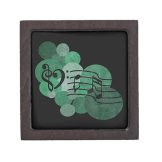 Heart clefs, music notes turquoise polka dots gift box