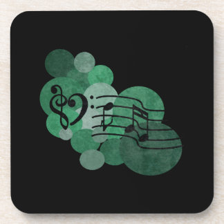 Heart clefs, music & turquoise polka dots coasters