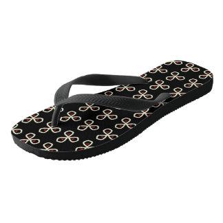Heart Clover Black Pattern Aimelle Design Flip Flops
