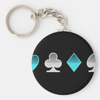 heart clover square pricks basic round button keychain