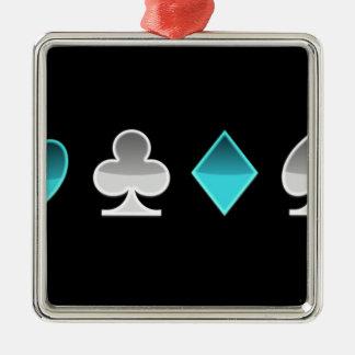 heart clover square pricks metal ornament