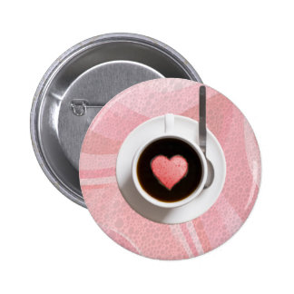 HEART COFFE CUP by SHARON SHARPE Pinback Button