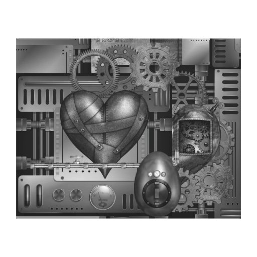 Heart Cogs - SRF Stretched Canvas Print