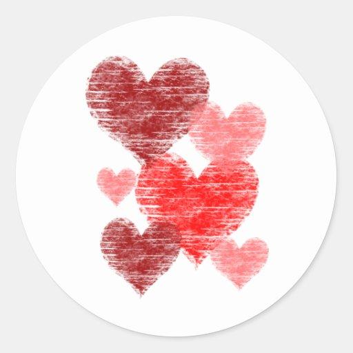 Heart Collage Round Stickers
