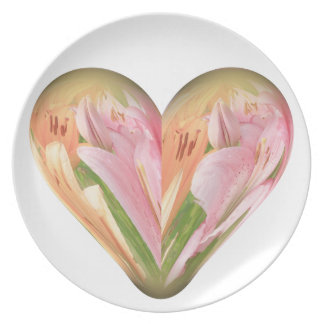 heart colored lilies plates