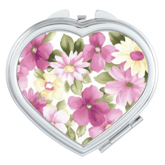 Heart Compact Mirror/Flowers Compact Mirror