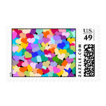 Heart Confetti Postage Stamps