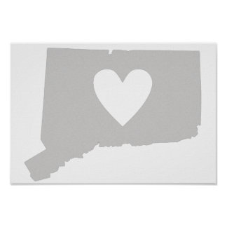 Heart Connecticut state silhouette Poster