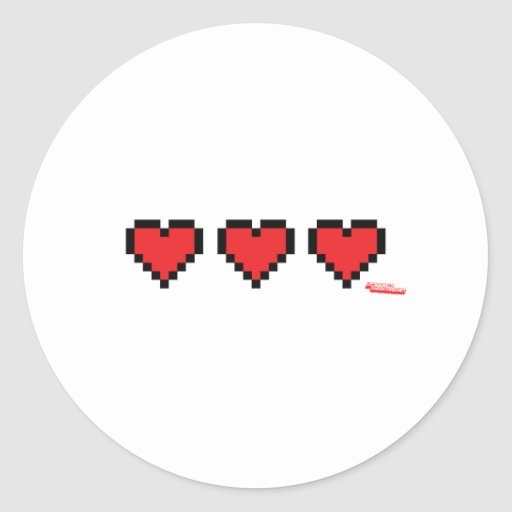 Heart Containers - Gamer, geek video games Life Classic Round Sticker