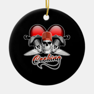Heart Cooking Double-Sided Ceramic Round Christmas Ornament