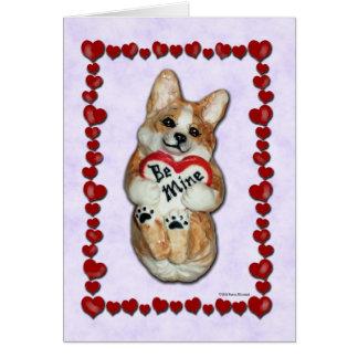 """Heart Corgi """"Be Mine!"""" Greeting Card"""