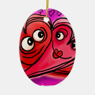 Heart Couple Art Ceramic Ornament