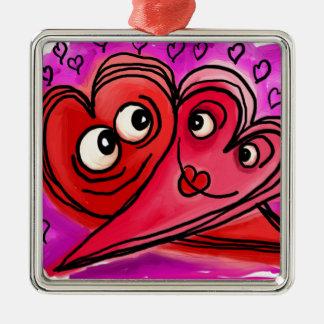 Heart Couple Art Metal Ornament