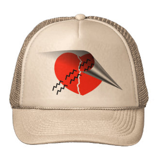 Heart Crack Tire Track Curled up Heart Trucker Hat