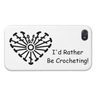 Heart Crochet Chart (I'd Rather Be Crocheting) Cases For iPhone 4