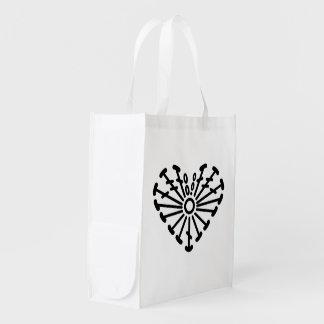 Heart Crochet Chart Pattern Reusable Grocery Bag