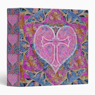 Heart Cross Pattern in Pink Binder
