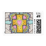 Heart Cross Postage Stamp