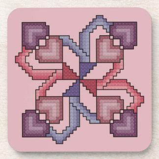 Heart Cross Stitch Coasters