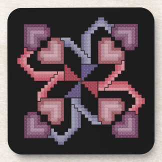 Heart Cross Stitch Quilt Square Coasters