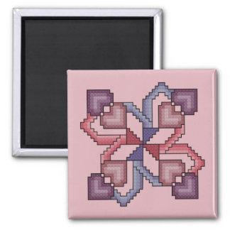 Heart Cross Stitch Quilt Square Magnet