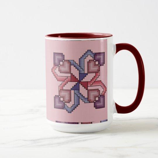 Heart Cross Stitch Quilt Square Mug