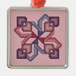 Heart Cross Stitch Quilt Square Ornament