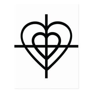 heart crosshairs postcard