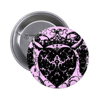 Heart Crown Shabby Distressed Damask Graphic Art Button