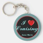 Heart Cruising personalized keychain Basic Round Button Keychain
