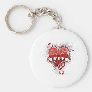 Heart Cuba Basic Round Button Keychain