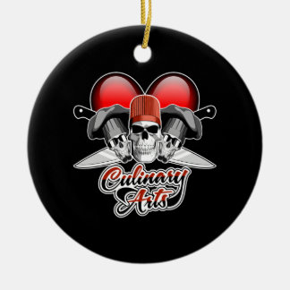 Heart Culinary Arts Double-Sided Ceramic Round Christmas Ornament