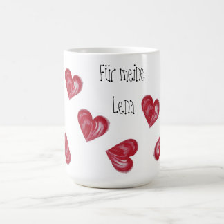 Heart cup, coffee cup, text alterable, Mother's Da Classic White Coffee Mug