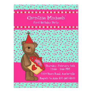 Heart Cupcake-Bear Classroom Card Invitations