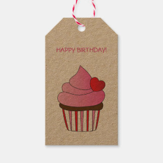 Heart Cupcake Happy Birthday Pack Of Gift Tags