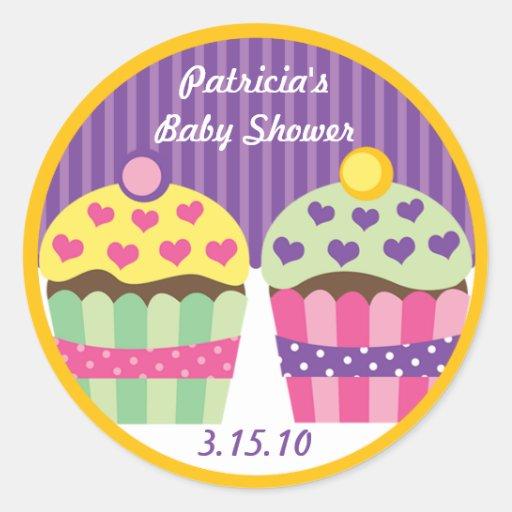 Heart Cupcakes Label Round Sticker