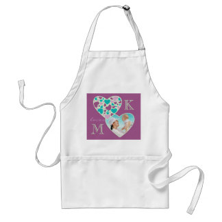 Heart Customizable Photo Frame Purple Turquoise Adult Apron