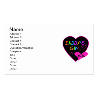 Heart Daddy's Girl T Shirts and Gifts Double-Sided Standard Business Cards (Pack Of 100)