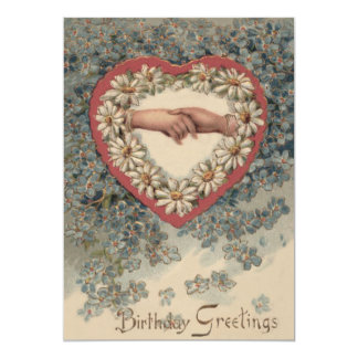 Heart Daisy Forget Me Not Holding Hands Floral Card