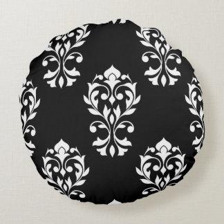 Heart Damask 2Way Big Ptn Black & White Round Pillow