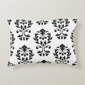 Heart Damask 2Way Big Ptn II Black & White Decorative Pillow
