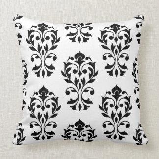 Heart Damask 2Way Big Ptn II Black & White Throw Pillow