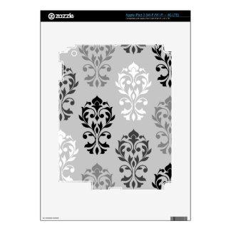 Heart Damask Art I Black Greys White Decal For iPad 3