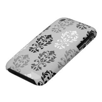 Heart Damask Art I Black Greys White iPhone 3 Case