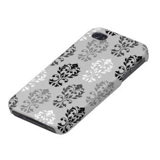 Heart Damask Art I Black Greys White iPhone 4 Cases