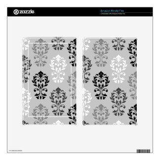 Heart Damask Art I Black Greys White Kindle Fire Skin