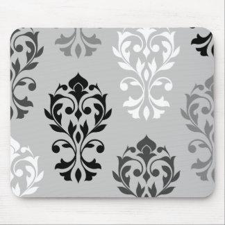 Heart Damask Art I Black Greys White Mouse Pad