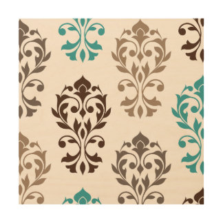 Heart Damask Art I Browns Teal Cream
